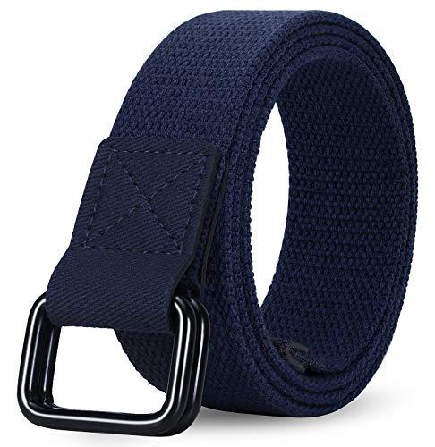 ITIEZY Mens Canvas Belt D-Ring Cloth Belt Casual Sport Work Adjustable Webbing Belt for Men Women