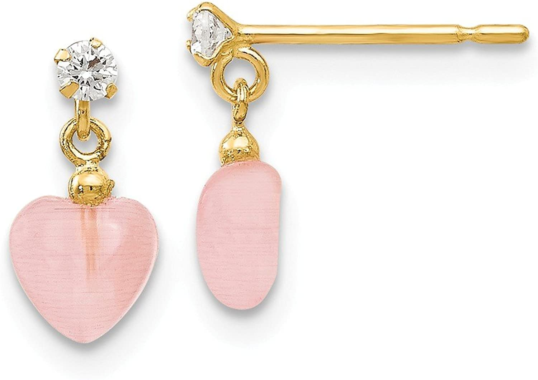 Beautiful Yellow gold 14K Yellowgold 14k Madi K CZ and Pink Cat's Eye Heart Dangle Post Earrings