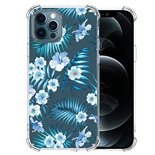 Girly-iPhone-12-Pro-Max-Case with Glass Screen Protector, Cute-Design-Transparent-Flower for Girls Women Best Protective Slim Fit Clear TPU Soft Silicone Cover Phone Case for iPhone 12 Pro Max (1)