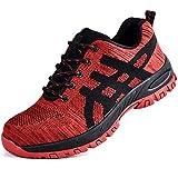 SUADEEX Zapato Seguridad Zapatos Trabajo con Puntera de Acero Hombre Mujer Transpirables Zapatillas de Senderismo Deportivas Antideslizante Unisex,Rojo,44EU