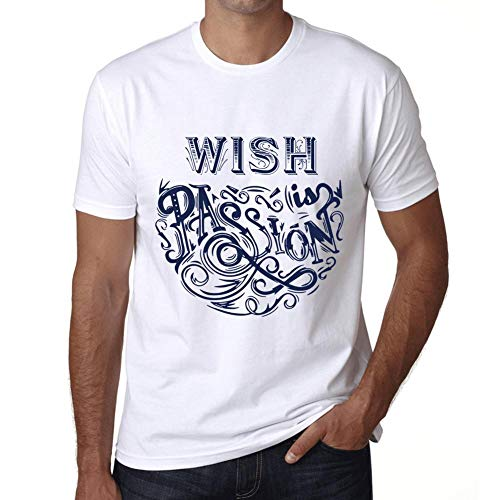 Hombre Camiseta Gráfico T-Shirt Wish Is Passion Blanco