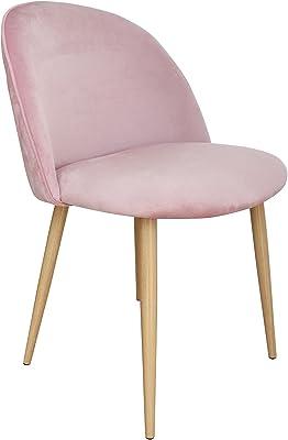 Velvet Seat Dining Chairs Chic Wooden Leg Chair Modern Café Kitchen Pink 2X