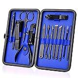 Set de manicura 15 juegos de tijeras de uñas negras tijeras de cejas aguja acné herramientas de belleza, 15 juegos negro y azul