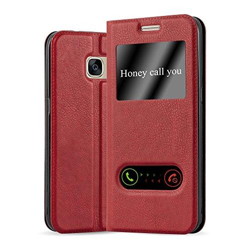 Cadorabo Hülle für Samsung Galaxy S7 - Hülle in Safran ROT – Handyhülle im Standfunktion und 2 Fenstern (View Design) - Case Cover Schutzhülle Etui Tasche Book Klapp Style
