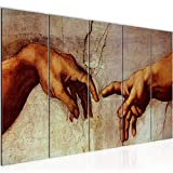 Tabla decoración mural La Creación de Adán - 200 x 80 cm XXL lienzo Salón Apartamento - listo para colgar - 700155a