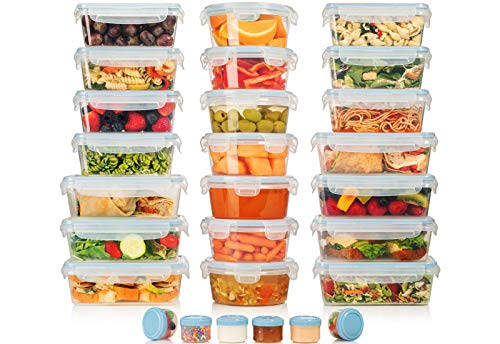 HUGE SET  42 Pack  Food Storage Containers with Airtight Lids  Easy Snap Lock  Leak Proof Lunch/Bento Box  BPA Free  Freezer amp Microwave Safe  Plastic Storage Container Set  by Shazo