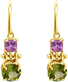 Gehna 18k (750) Yellow Gold, Sapphire and Peridot Drop Earrings for Women