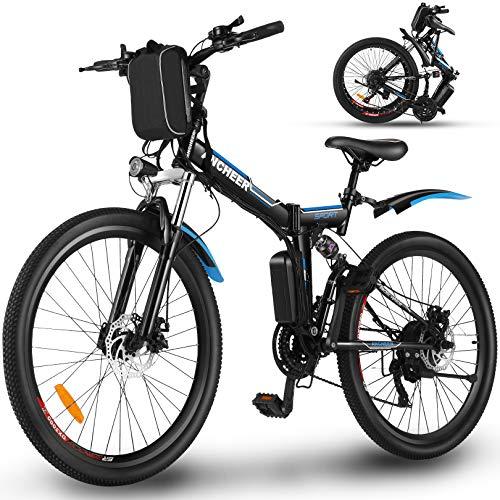 ANCHEER Bicicleta Electrica Plegable, Bicicletas Plegables Adulto 26'', E-Bike de Montaña, Motor...