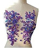 Puro fatto a mano da cucire su cristalli strass viola applique Patches 58 x 28 cm vestito di
