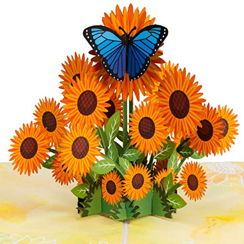 Paper Love Sunflowers Pop Up Card, Handmade 3D Popup Greeting Cards for Mothers Day, Valentines Day,...
