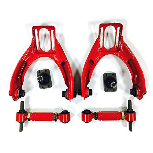 4PC Front & Upper Racing Suspension Steel Adjustable Camber Arm Control Kit Compatible with 1996 1997 1998 1999 2000 Honda Civic 1.6L L4