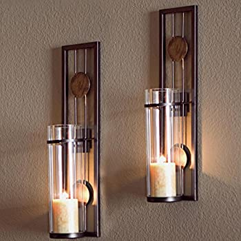 ALLADINBOX Wall Sconces Candle Holder Classic Metal Acrylic Wall Decorations for Living Room Bathroom Dining Room Set of 2