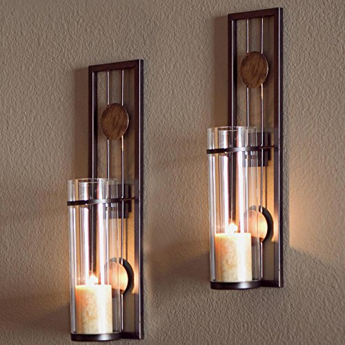 ALLADINBOX Wall Sconce Candle Holder Classic Metal Wall Decorations for Living Room, Bathroom, Dining Room, Set of 2
