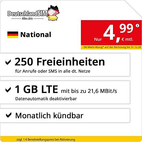 DeutschlandSIM LTE 1000 National - monatlich kündbar (1 GB LTE mit max. 21,6 MBit/s inkl. deaktivierbarer Datenautomatik, 250 Freieinheiten für Anrufe oder SMS, 4,99 Euro/Monat)