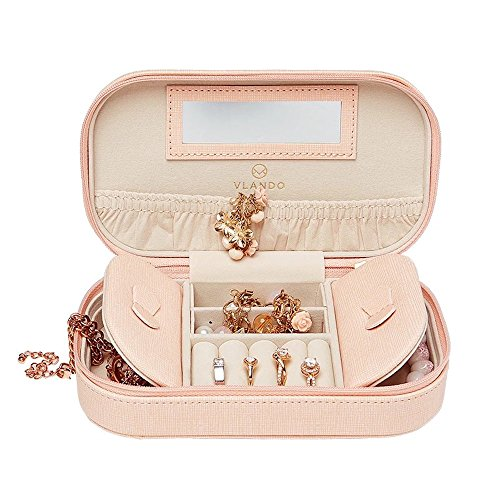 Vlando Faux Leather Tassels Travel Jewelry Box Organizer Display Storage Case for Necklaces Earrings Rings, Pink