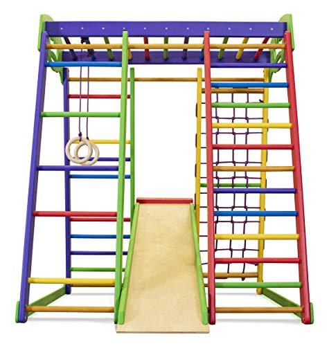 Kinder zu Hause aus Holz Spielplatz mit Rutschbahn ˝Akvarelka˝ Kletternetz Ringe Kletterwand !Zertifikat!