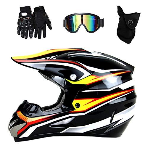 Casco de motocicleta de motocross para adultos con gafas, guantes de máscara, casco cruzado profesional, casco de bicicleta de montaña Four Seasons Unisex Casco de descenso