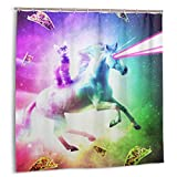 VxenBgutjjw Space Cat Riding Unicorn - Laser, Tacos and Rainbow Duschvorhang 72x72 In Plastic