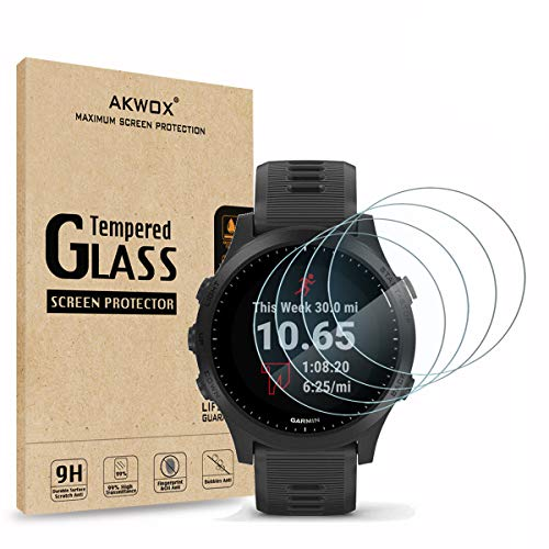 AKWOX (Pack of 4) Tempered Glass Screen Protector for Garmin Forerunner 945, [0.3mm 2.5D High Definition 9H] Premium Clear Screen Protector for Garmin Forerunner 945