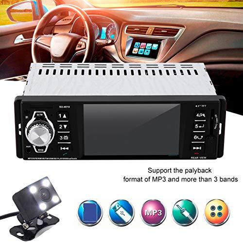 GOFORJUMP Support Caméra Arrière 12V 1 Din Autoradio Stéréo MP4 Bluetooth Télécommande AUX USB TFT SD MMC EQ FM Rearview Parking Audio de Voiture MP5