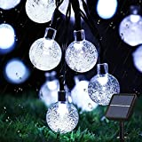 Augone Solar Garden Lights Waterproof, 50LED 7M/24Ft Solar String Lights Outdoor, 8 Modes Globe Fairy Lights for Indoor/Outdoor, Patio, Lawn, Yard, Wedding, Christmas Decorations (Cool White)