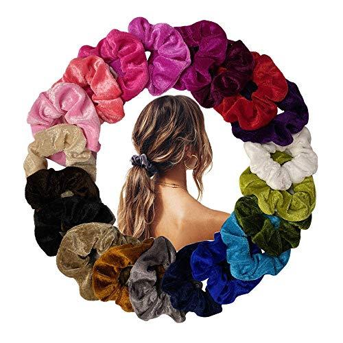 20 Stück velvet Haargummis Samt Scrunchies Elastisches HaarBand Pferdeschwanz Samtstoff für Mädchen, 20 Farben Haarbänder Elegante Stirnbänder