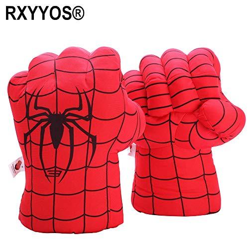 Valeny 1 Paar Kinder Boxhandschuhe, Spideman-Handschuhe Super Hero Smash Hände Weiche Plüschhandschuhe Fäuste Cosplay Kostüm Spielzeug Fäuste für Kinder Geburtstag Weihnachten Lustig - Rot/30cm