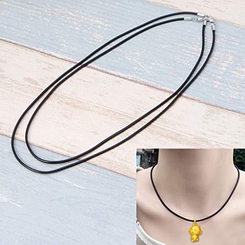 LessLIFE Collar de cordón de cuero de cera, cordón de cuero de seda negro collar de cadena de cuerda con cierre de pinza de langosta-45CM