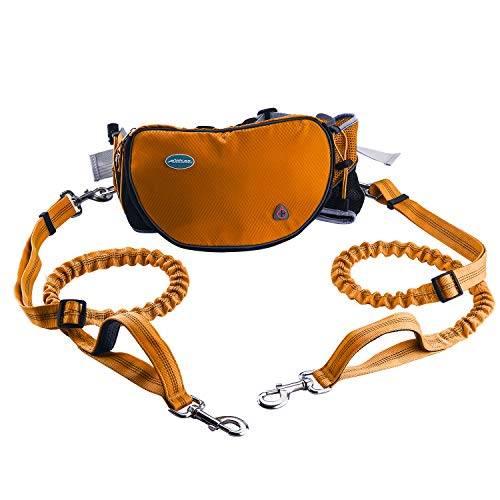 ThinkPet Hands Free Dog Leash for 2 Dogs - Shock Absorbing Bungee Leash for Medium to Large Dogs, Adjustable Waist Belt from 25.6' to 49', Dog Treat Pouch & Bottle Holder