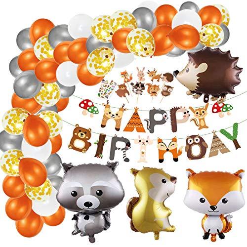Waldtiere Geburtstag Deko, Tier Wald Geburtstagsdeko Kinder, Happy Birthday Banner, Latex Luftballon mit Folien Tier Ballon für Junge Mädchen Geburtstagsfeiern Kindergeburtstag Deko Party