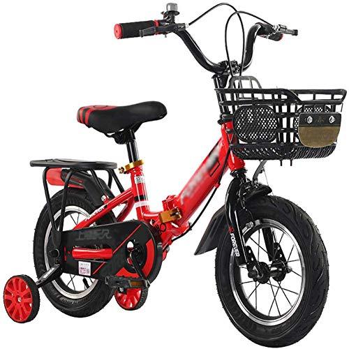 HGA Bicicleta para Niños Plegable Bicicleta para Niños para Niña En Tamaño 12' 14' 16' Bicicleta De Aprendizaje Infantil con Estabilizadores Y Rueda De Entrenamiento,Black+Red-18寸