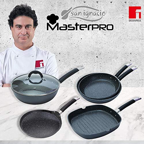MasterPro Edition Home Black Set 5 SARTENES-Pancake Ø24x2, Ø24x6,5, Ø26x5, Wok Ø28 C/T, y Grill 28x28, Negro, inducción, Aluminio Forjado