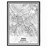 Bonn Deutschland Karte Wandkunst Leinwand drucken Poster
