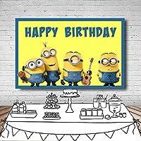 漫画の黄色のビニールの誕生日の背景子供の誕生日キッズ写真の背景生まれたばかりの赤ちゃんの写真撮影結婚式の祭典テーマパーティーの写真ブースの小道具