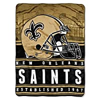 "Officially Licensed NFL New Orleans Saints ""Stacked"" Silk Touch Throw Blanket, 60"" x 80"", Multi Color"