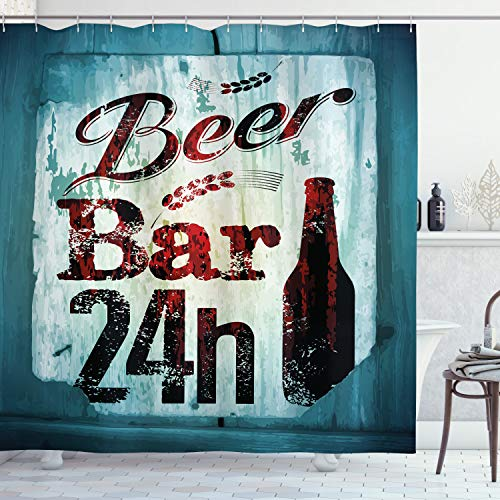 Ambesonne Retro Shower Curtain, Grunge Beer Bar 24h Old Pub Sign Emblem Restaurant Graphic Design, Cloth Fabric Bathroom Decor Set with Hooks, 70' Long, Brown Maroon