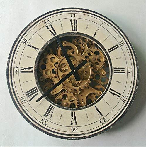 YUNDONG Reloj de Dormitorio Engranaje Retro decoración de la Pared del Reloj Barra Americana Estudio Sala de Estar artesanías Reloj de Pared Creativo