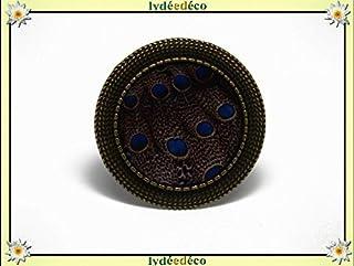 Anello retro resina Peacock piuma blu marrone regolabile rotondo 20mm ottone bronzo regalo personalizzato noel amico festa...