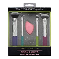 Real Techniques Neon Lights Makeup Brush Gift Set Includes Miracle Complexion Sponge