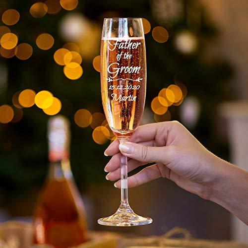 Champagnerglas für die Hochzeit, mit Gravur, für den Vater des Bräutigams
