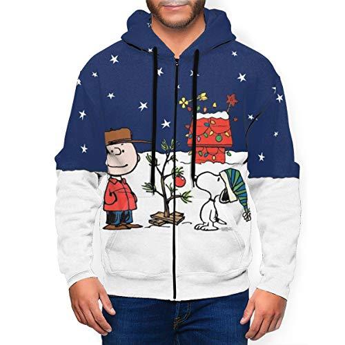 Cartoon Snoopy Felpa con cappuccio unisex a maniche lunghe con zip intera stampata leggera pullover uomo felpa con cappuccio Nero XXXL