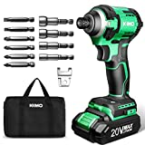 KIMO 20V Brushless Cordless Impact Drill Kit w/Lithium-ion Battery/Charger, 3500RPM Variable Speed/1800 In-lb Torque, 5/8'' Keyless Chuck, 6pc Driver Bits & 4pc Socket Bits for Metal Concrete Wood