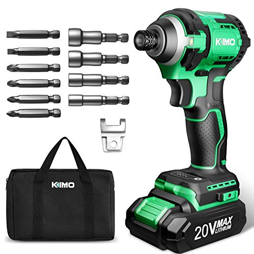 KIMO 20V Brushless Cordless Impact Driver w/Lithiumion Battery/Charger 3500RPM Variable Speed/1800 Inlb Torque 5/8'' Keyless Chuck 6pc Driver Bits amp 4pc Socket Bits for Metal Concrete Wood