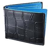 [レガーレ] 財布 本革 大容量 カード15枚収納 カラー豊富 (ベロア化粧箱入り) クロコブラック×ブルー