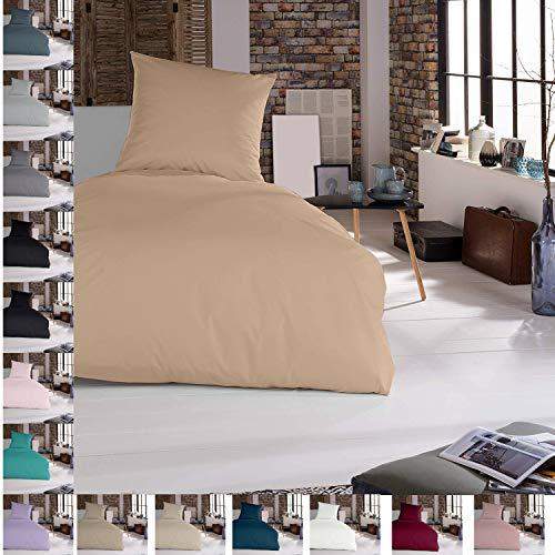 Douceur d'Intérieur - Juego de cama (2 piezas, 155 x 220 cm, 100% algodón), color marrón claro
