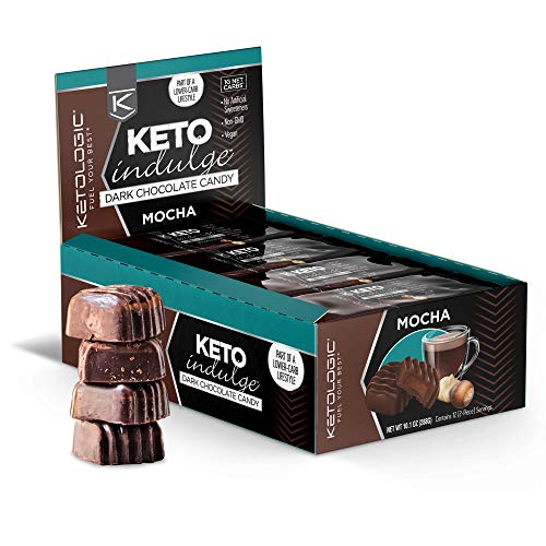 KetoLogic Keto Indulge Sugar Free Chocolate: Keto Chocolate Candy - Low Carb, Dark Chocolate with No Artificial Sweeteners & No Added Sugar - All Natural, Non GMO, Keto Sweets - Mocha (12 Serve)