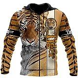 3D Animal Tiger Impreso Unisex Sudadera con capucha Hombres Sudadera con cremallera Jersey Casual Chaqueta Chándales, Sudadera con cremallera, L
