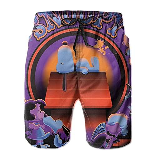 Cartoon Snoopy Mens Beach Board Bañador Trunks con cordón forrado Playa Pantalones Cortos de Entrenamiento Impresión