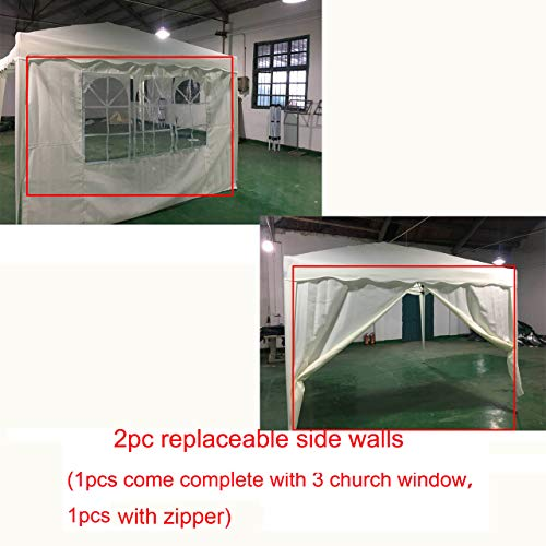 AutoBaBa 2Pcs 3x3M Garden Gazebo Sidewalls Canopy Marquee Replaces Replaceable Side Panels Wall Panels, One With Windows, One with Zipper, Polyester, Not PE (White)