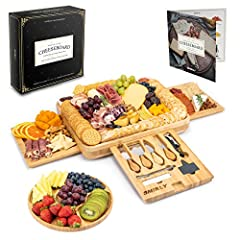 ✅Round tray included: With 5 serving sections that can be filled with fruit, bread, nuts, and other savory foods, the matching bamboo snack board will perfectly complement your decadent cheeseboard ✅Bamboo party plate: The extra large wooden cheese a...